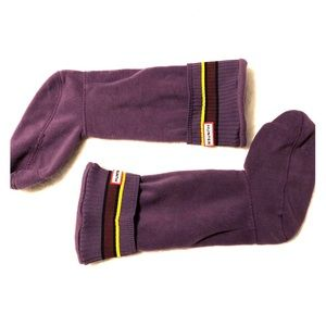 Hunter Purple Striped Cuff Large Boot Socks 8-10